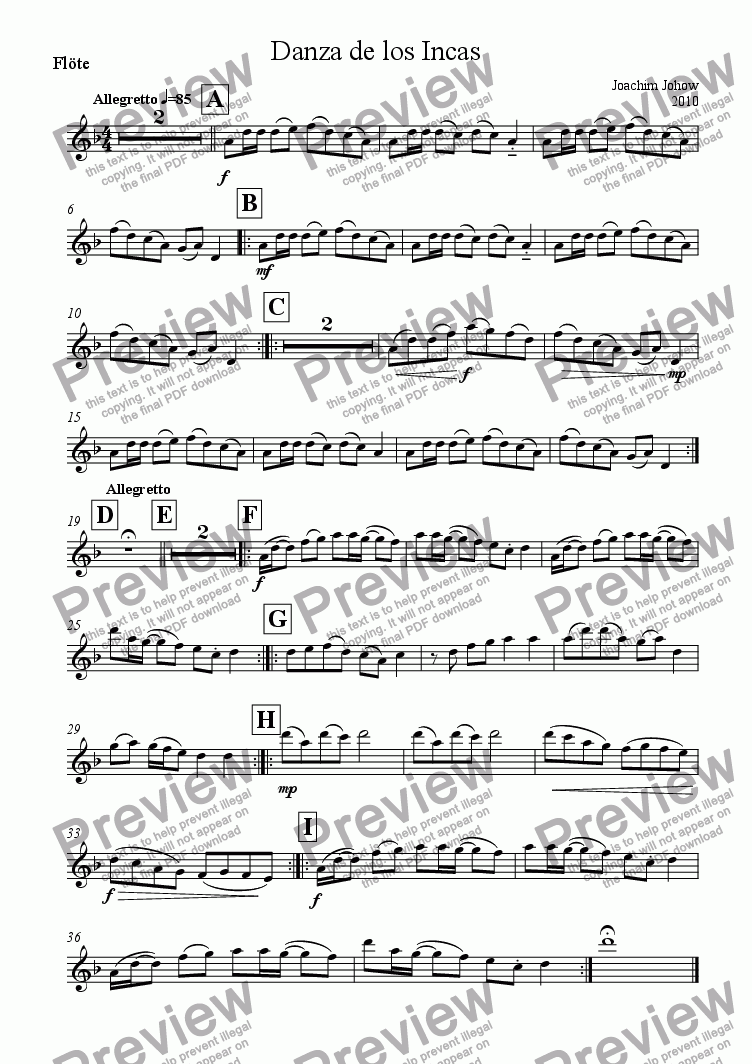page one of the Fl part from My School Orchestra 12 (Danca de los Incas)