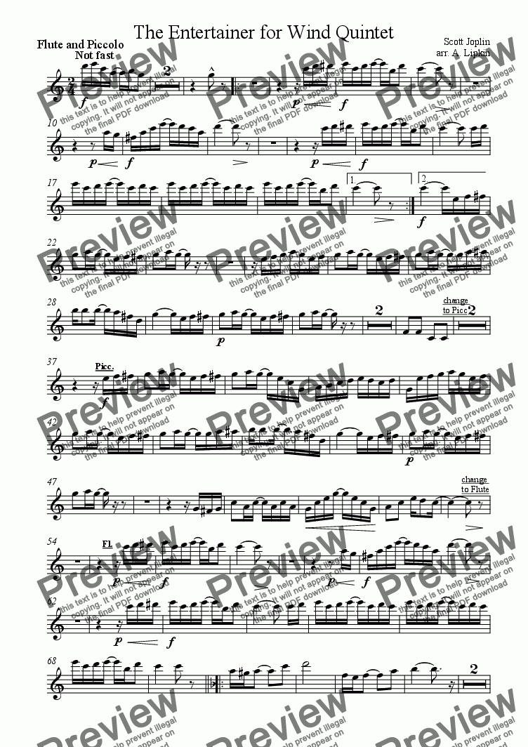 page one of the Flute/pic part from The Entertainer for Wind Quintet