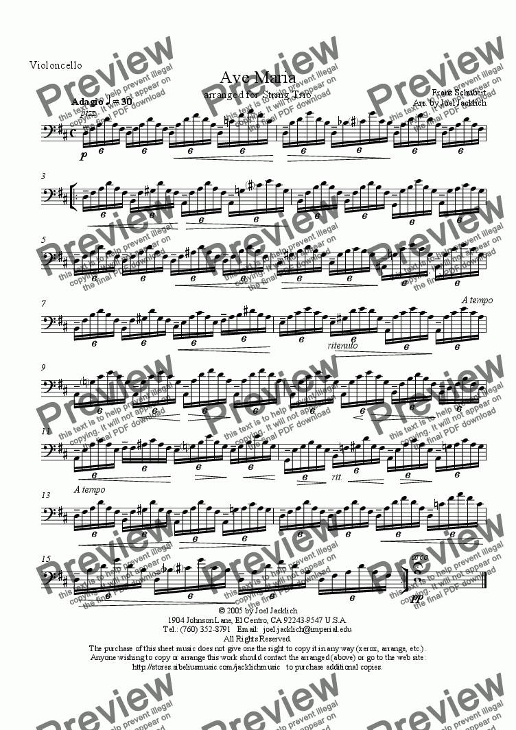 page one of the Cello part from Ave Maria (String Trio w/solo in violin) D-Low
