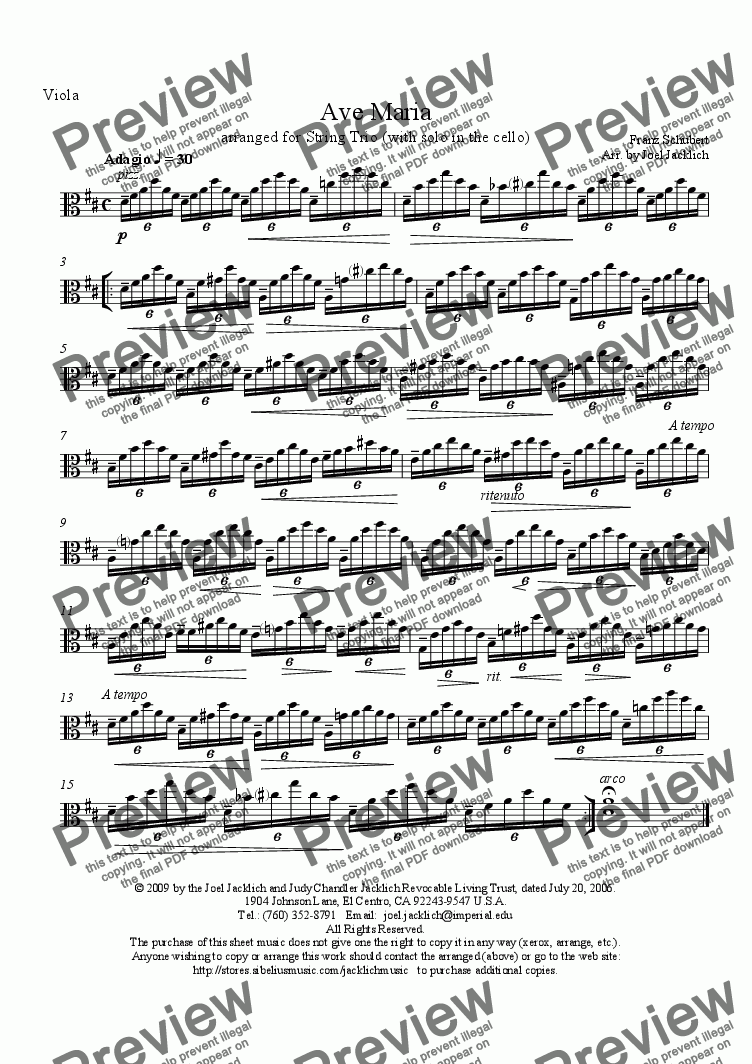 page one of the Viola part from Ave Maria (String Trio w/solo in cello) D-High