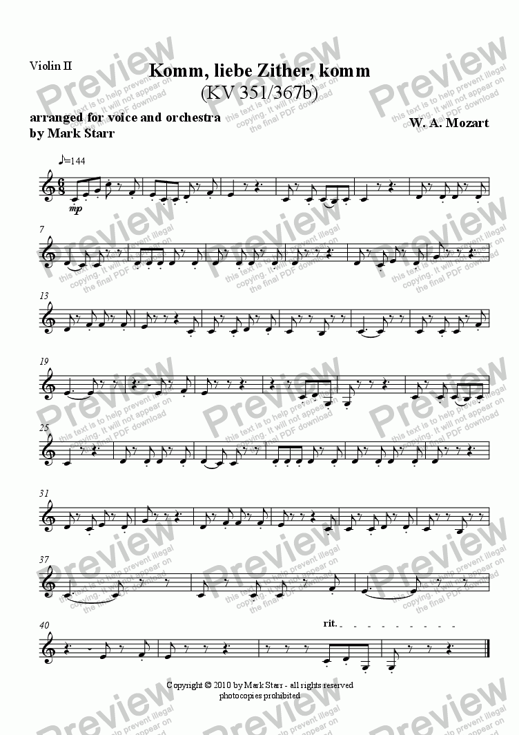 page one of the Violins 2 part from MOZART - STARR; Komm, Liebe Zither, Komm, KV 351/367b (song for voice and mandolin arranged by Mark Starr for voice and orchestra)