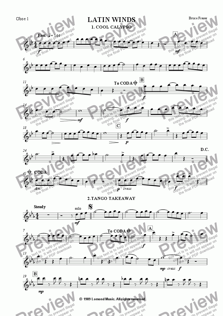 page one of the Oboe 1 part from DOUBLE REED LATIN WINDS