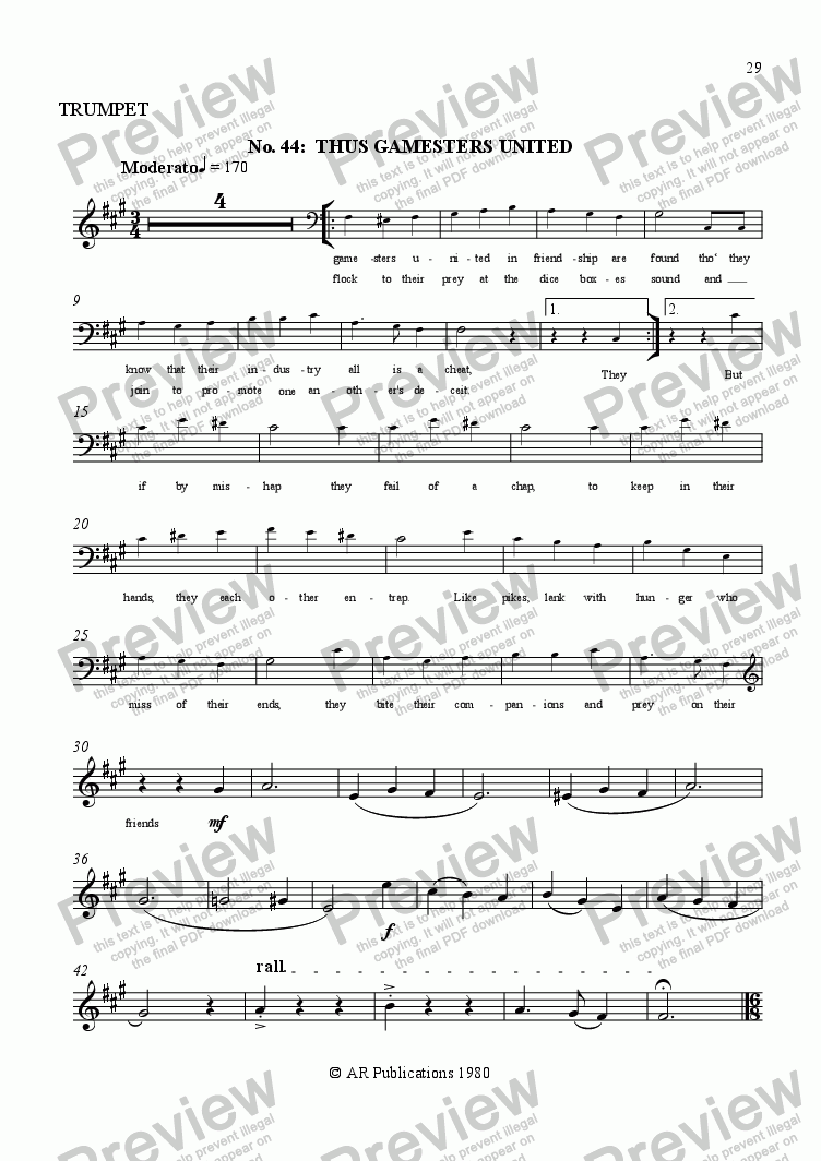 page one of the Trumpet part from Beggar's Opera - No. 44, 45 & 46