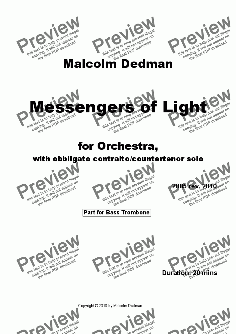 page one of the Bass Trombone part from Messengers of Light