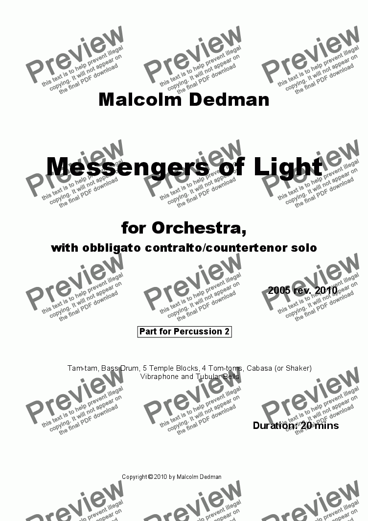 page one of the Percussion 2 part from Messengers of Light