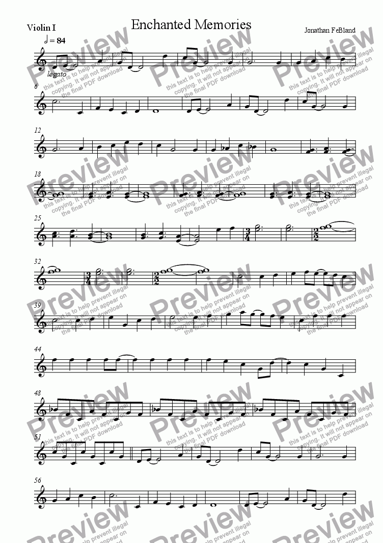 page one of the Violin I part from Enchanted Memories
