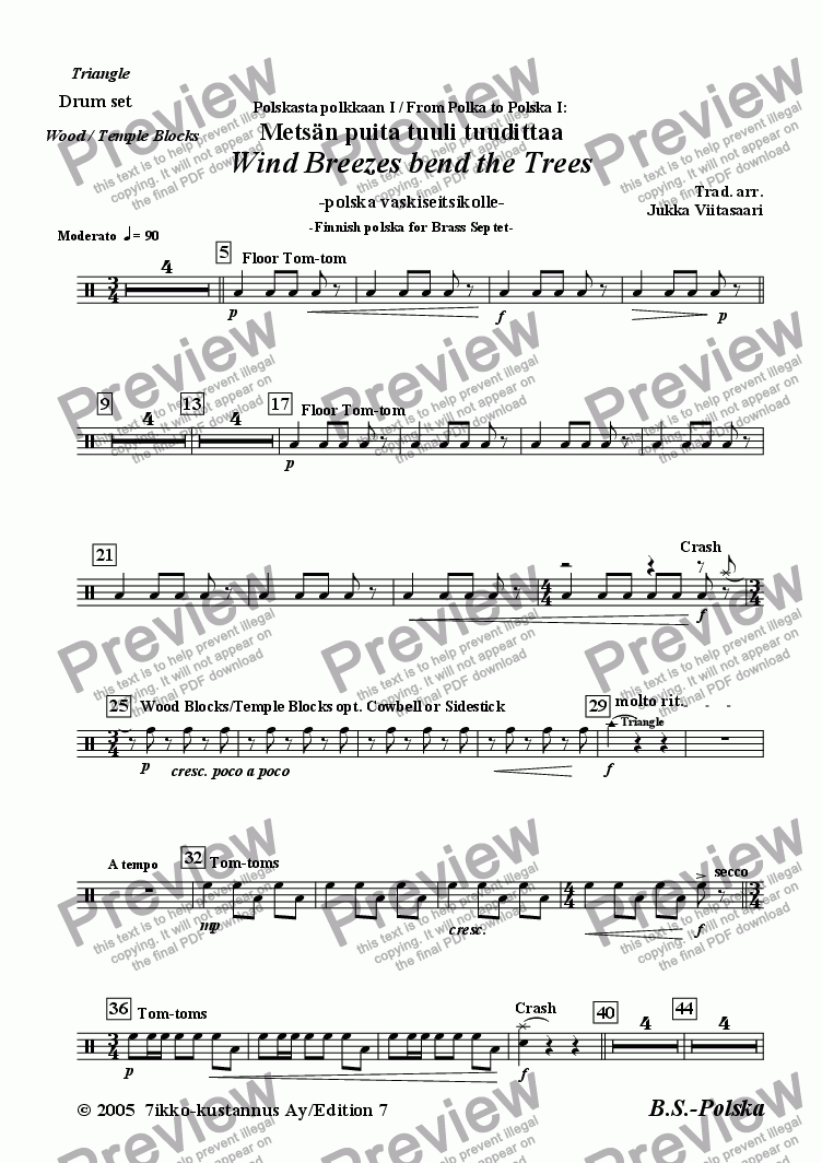 page one of the 8. Drum Set (opt.) part from Wind Breezes bend the Trees (Brass Septet)
