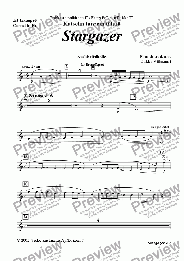 page one of the 2. 1st Cornet/Trumpet in Bb part from Stargazer (Brass Septet)