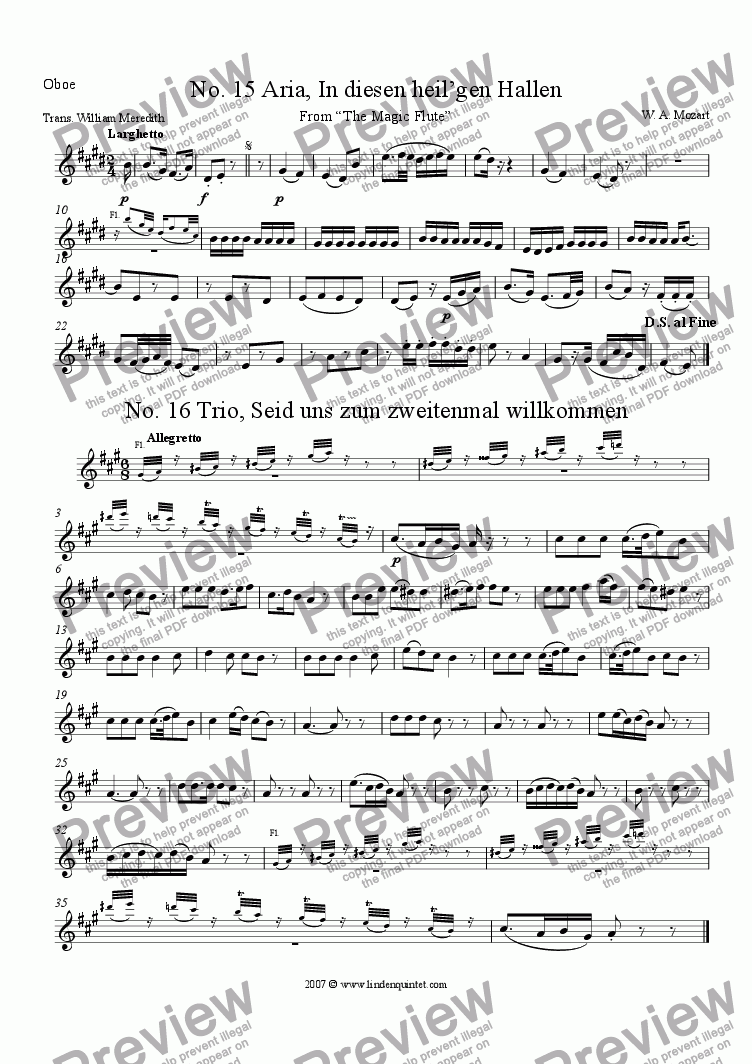 page one of the Oboe part from Mozart - Magic Flute No. 15 and 16