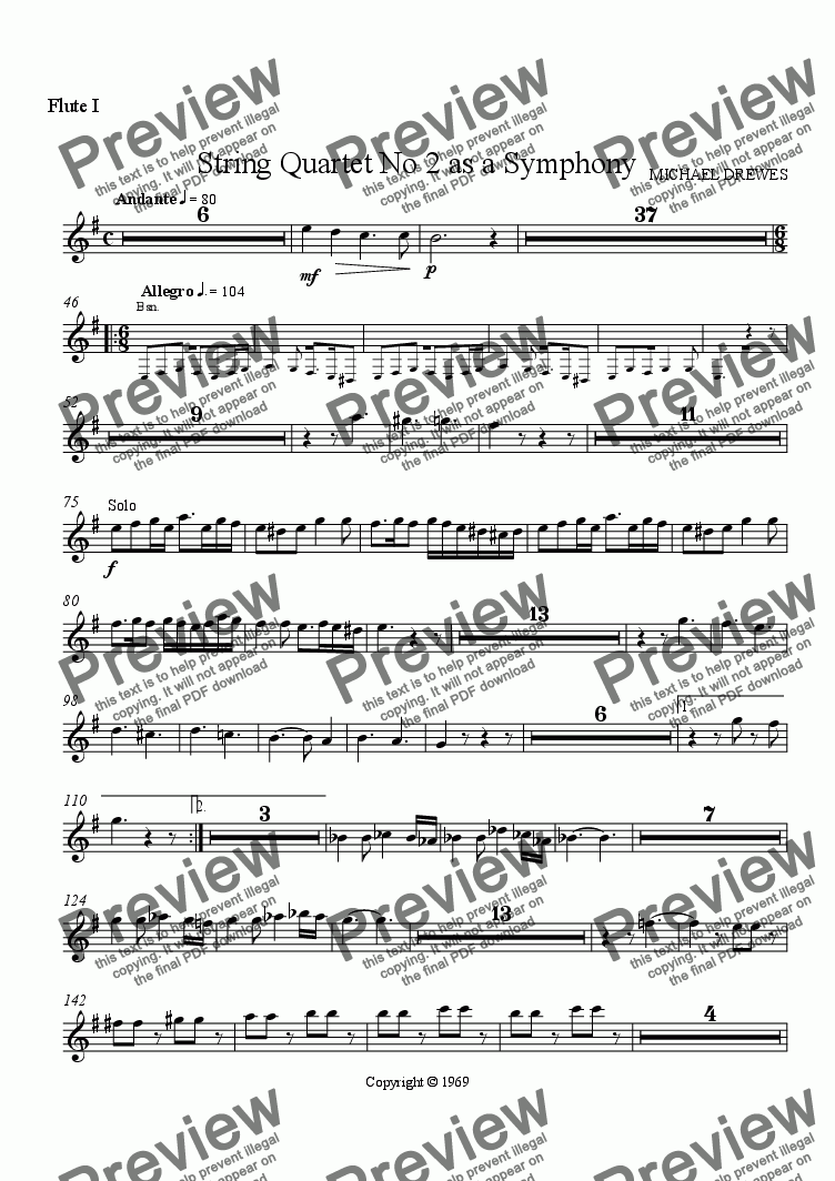 "page one of the Flute I part from String Quartet No. 2  ""Eyin Gev"" as a Symphony"