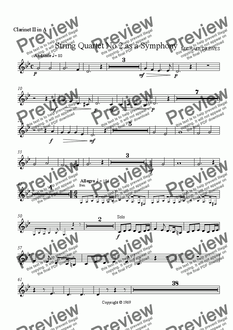 "page one of the Clarinet II in A part from String Quartet No. 2  ""Eyin Gev"" as a Symphony"