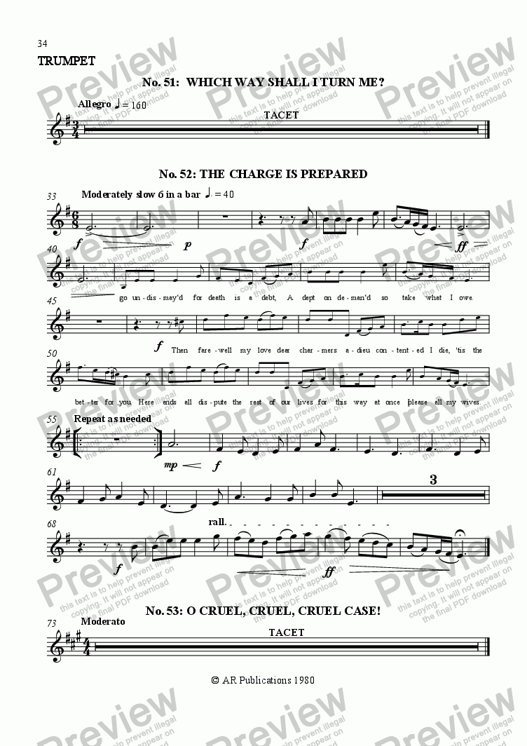 page one of the Trumpet part from Beggar's Opera -  No. 51, 52 & 53