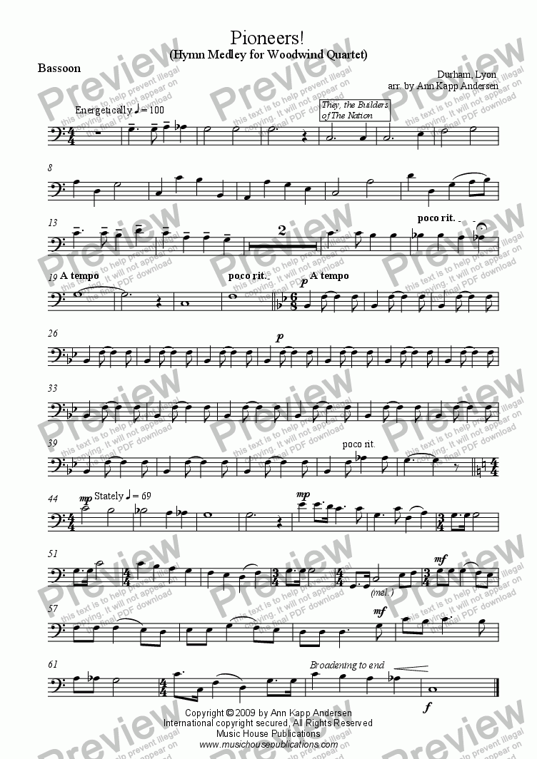 page one of the Pioneers! - Bassoon part from Pioneers!