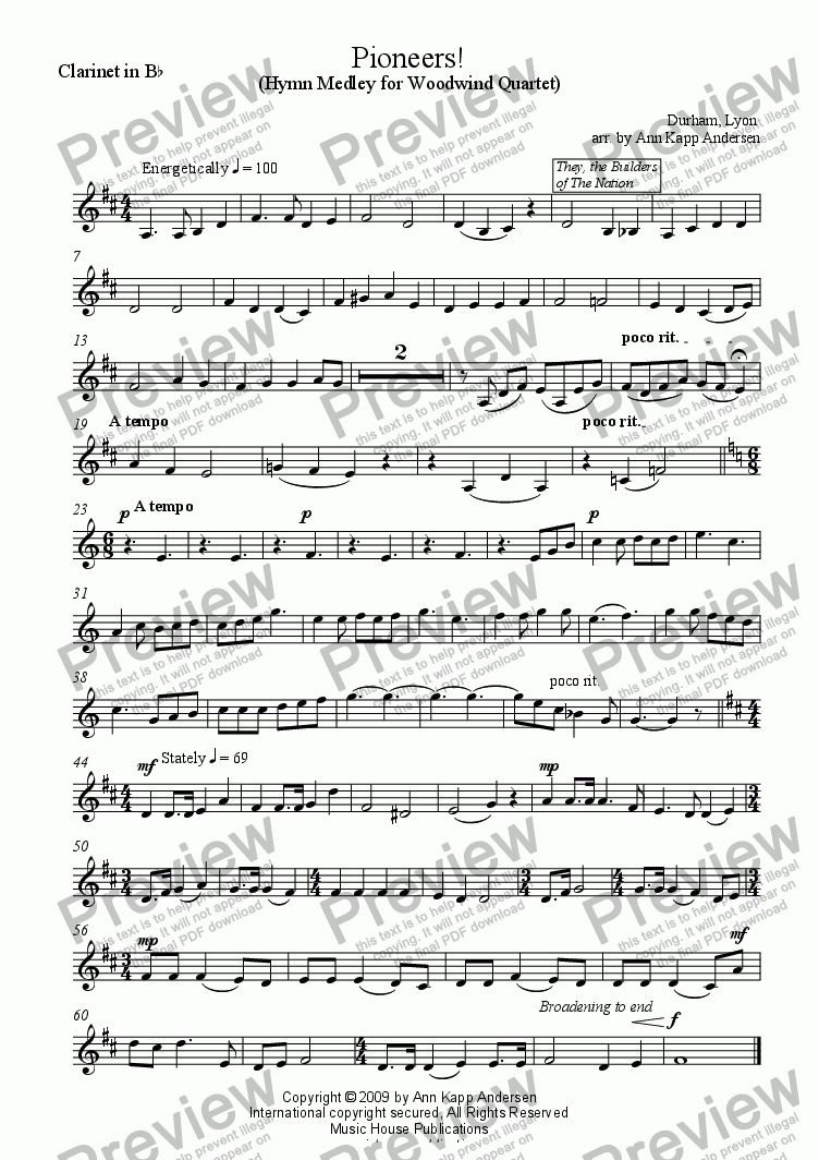page one of the Pioneers! - Clarinet in Bb part from Pioneers!