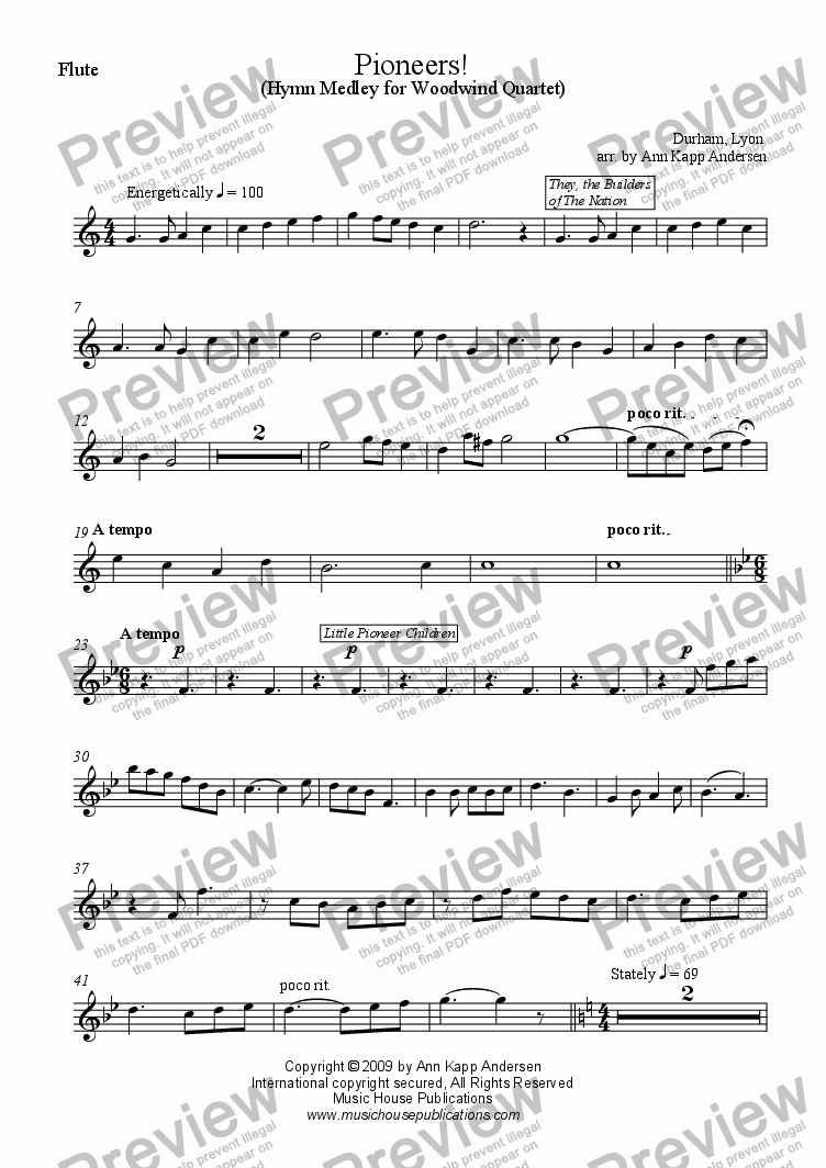 page one of the Pioneers! - Flute part from Pioneers!