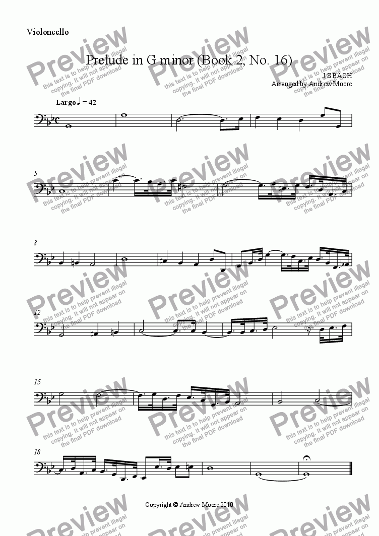 page one of the Cello part from Prelude in G minor (Book 2, No. 16) arr. for String Quartet