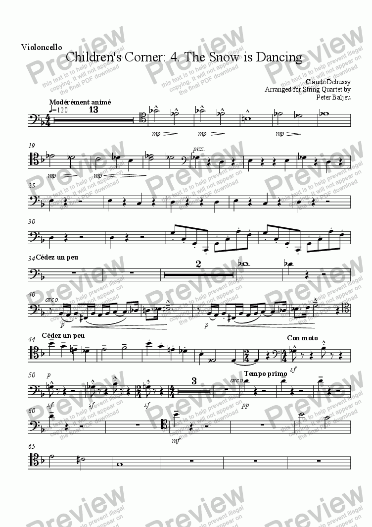 page one of the Cello part from The Snow is Dancing