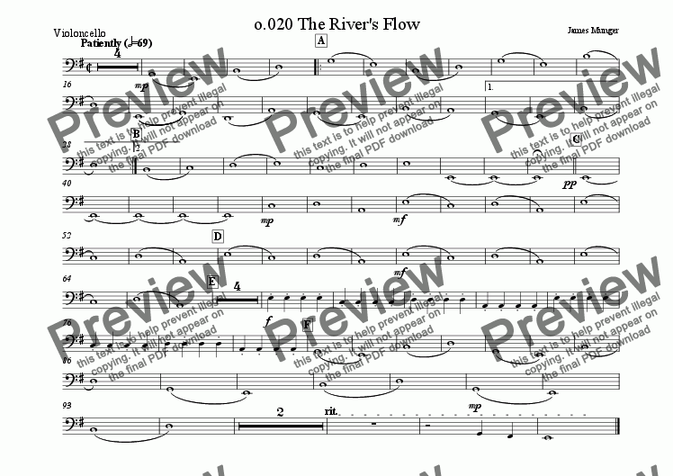 page one of the Violoncello part from 020 The River's Flow
