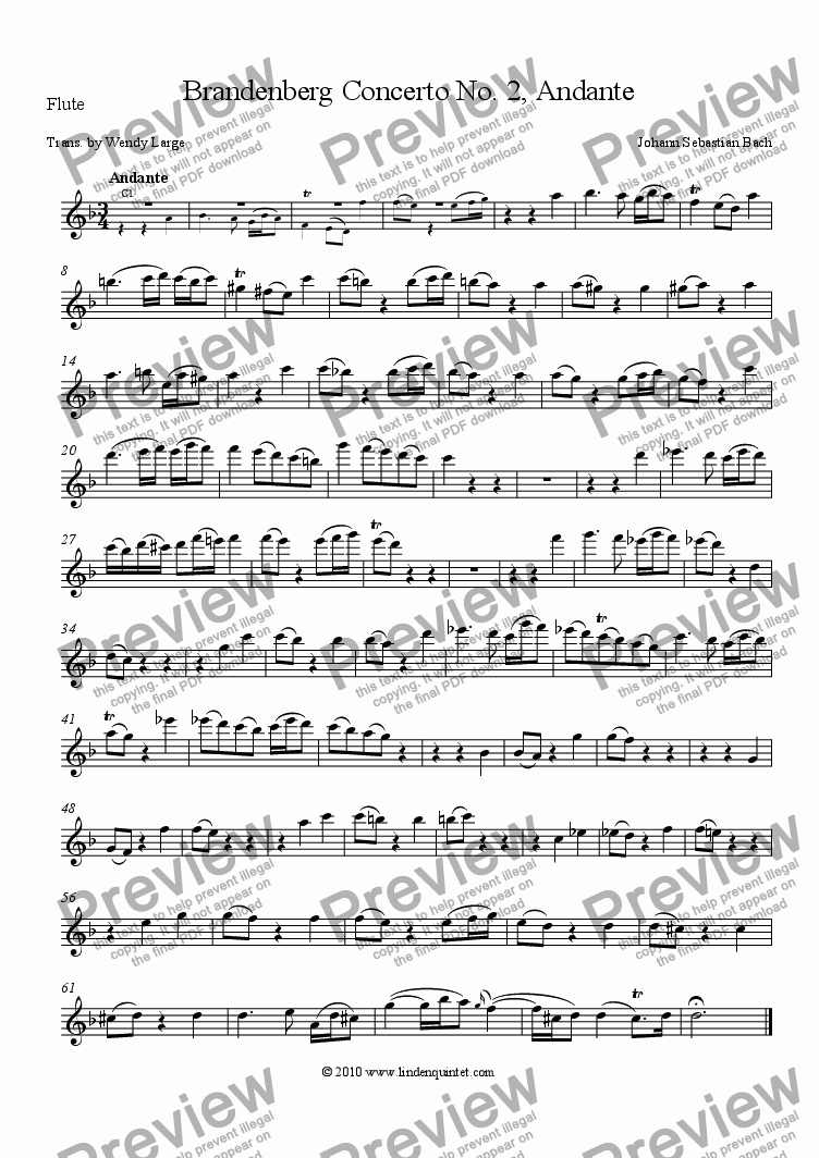 page one of the Flute part from Bach - Brandenburg Concerto No. 2 Andante