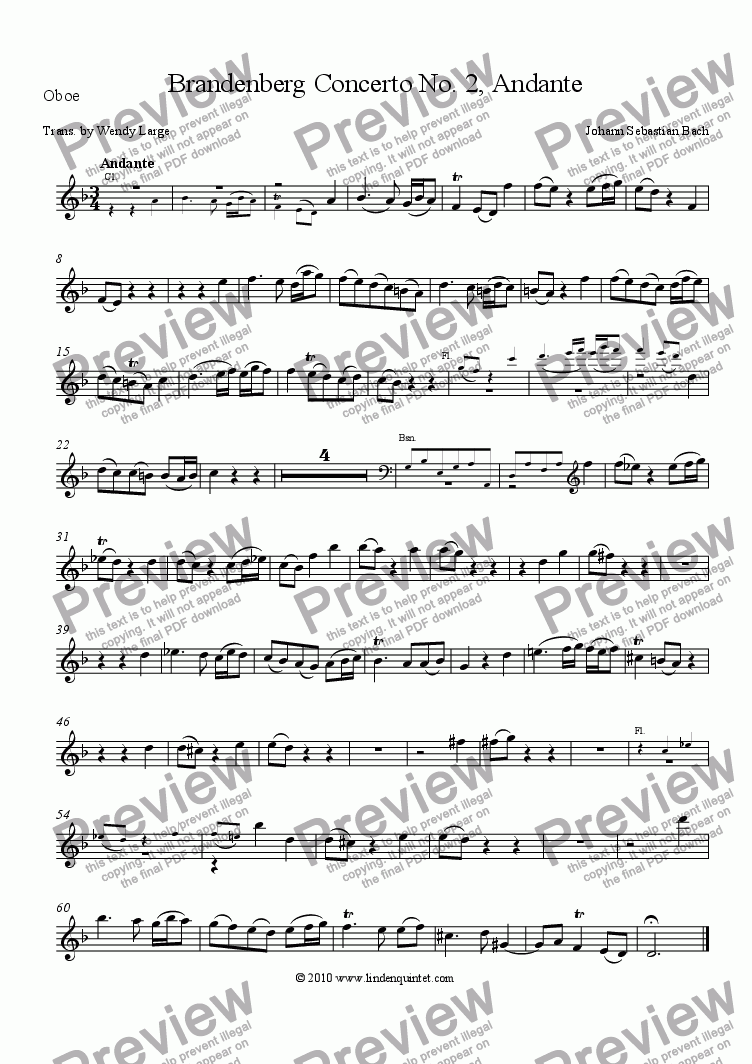 page one of the Oboe part from Bach - Brandenburg Concerto No. 2 Andante