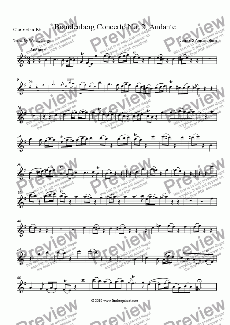 page one of the Clarinet part from Bach - Brandenburg Concerto No. 2 Andante