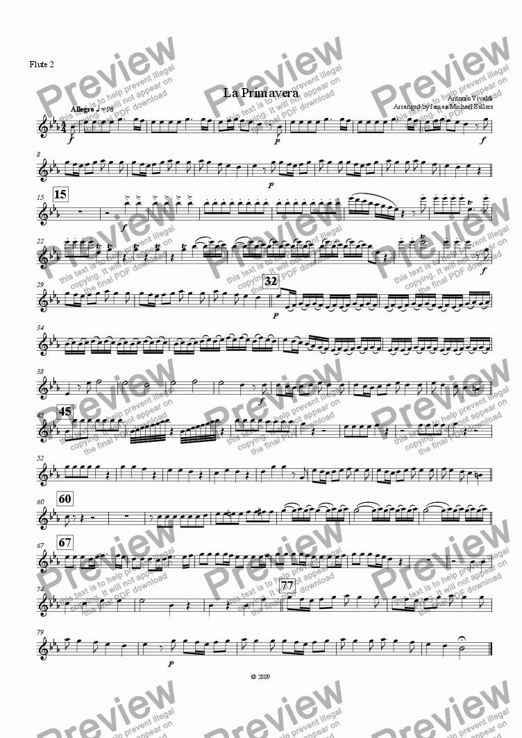 page one of the Flute 2 part from La Primavera (for Flute Choir)