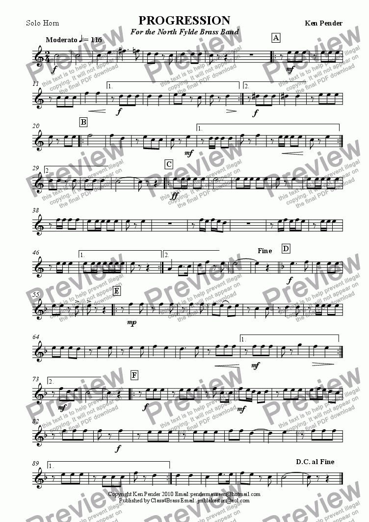 page one of the solo horn part from Concert march: Progression