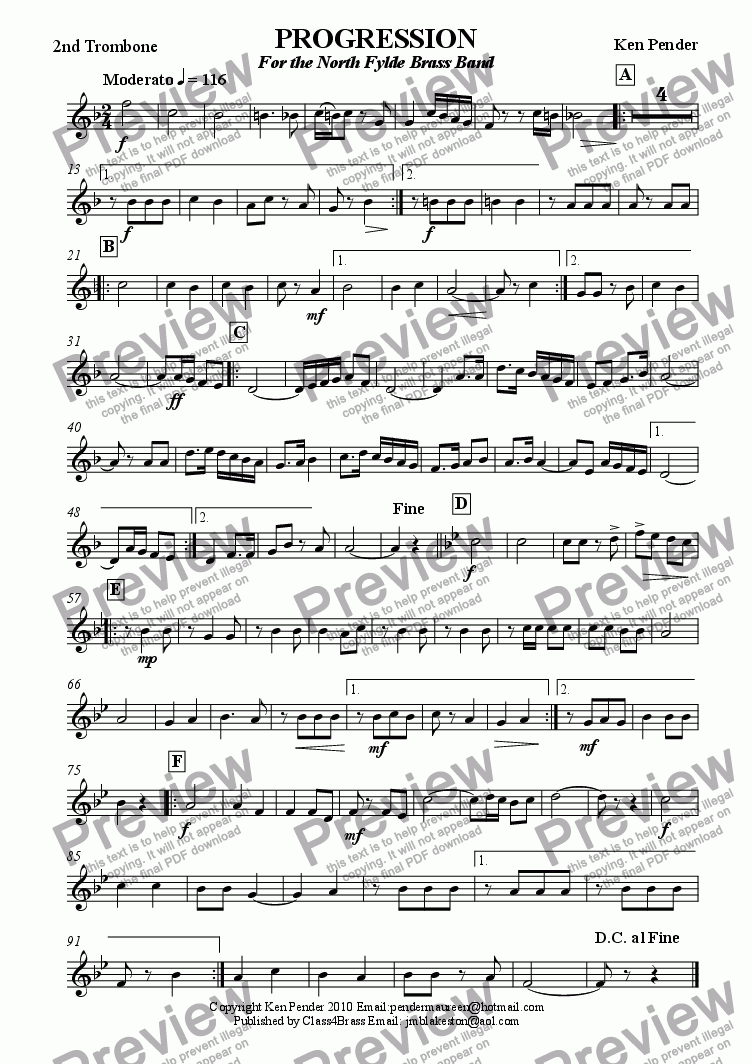 page one of the 2nd trombone part from Concert march: Progression