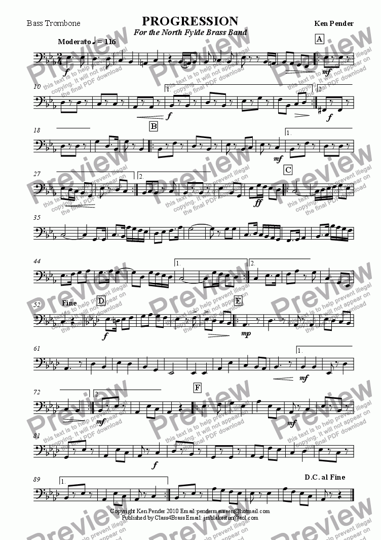page one of the bass trombone part from Concert march: Progression