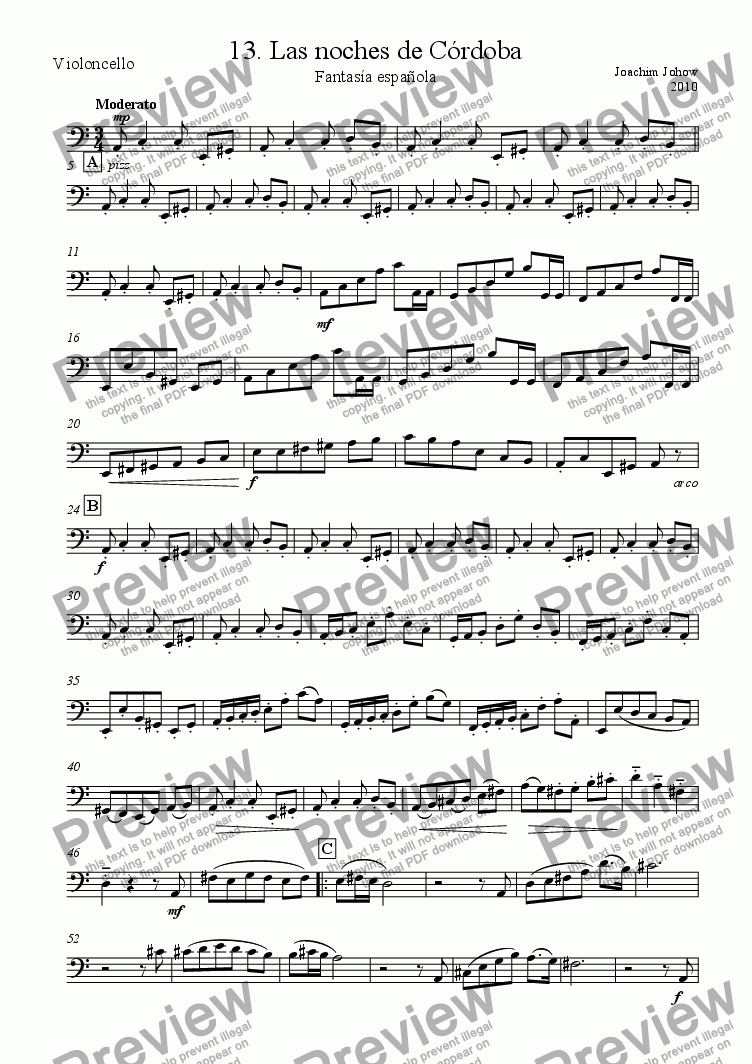 page one of the Vlc part from My Strings 13 (Las noches de Cordoba)
