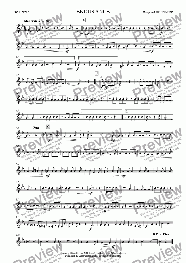 page one of the 2nd cornet part from Concert march: Endurance