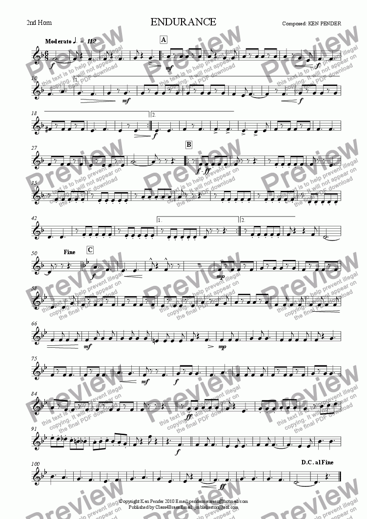 page one of the 2nd horn part from Concert march: Endurance