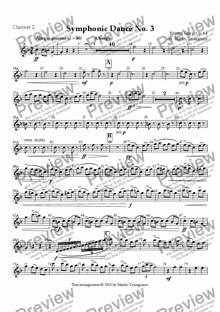 page one of the Clarinet 2 part from Symphonic Dance No. 3
