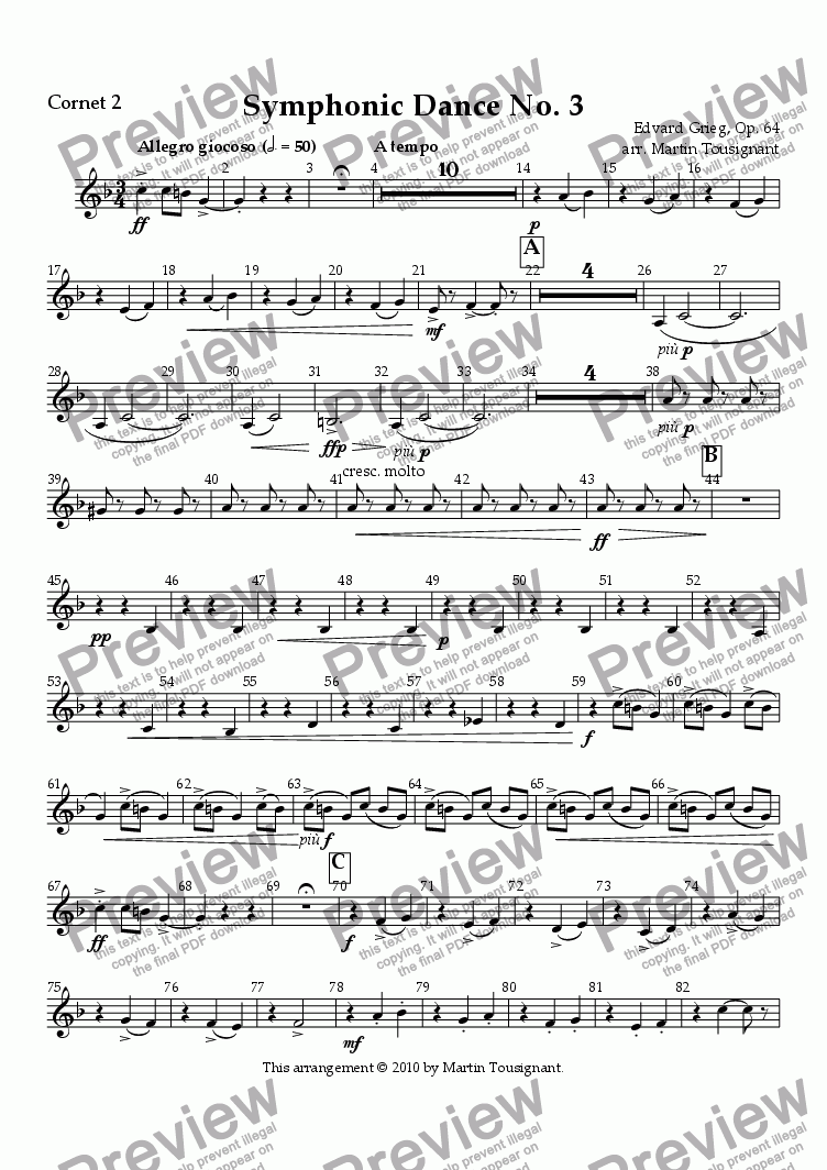 page one of the Cornet 2 part from Symphonic Dance No. 3