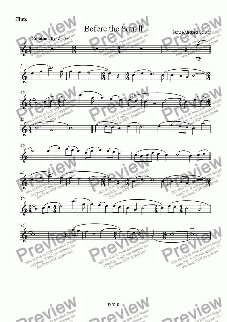 page one of the Flute part from Before the Squall (Flute solo with Piano)