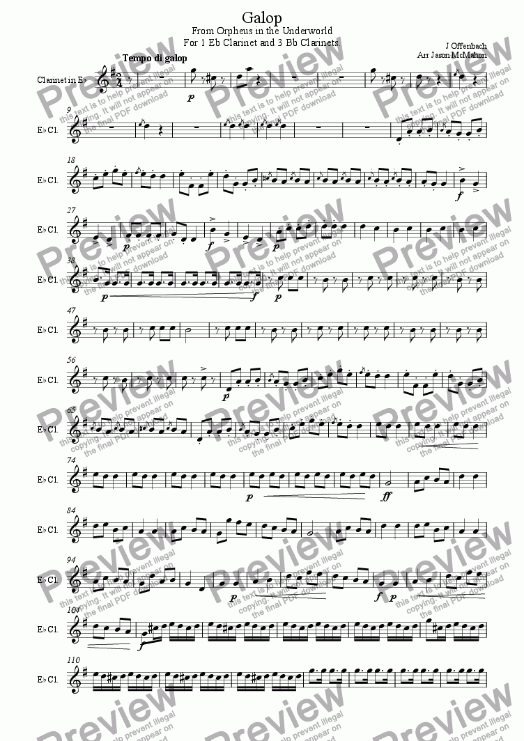 page one of the Eb Clarinet part from Galop. From Orpheus in the Underworld.