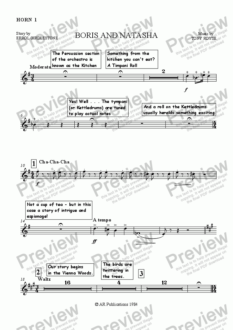 page one of the Horn 1 part from Boris and Natasha (Instruments Of The Orchestra)