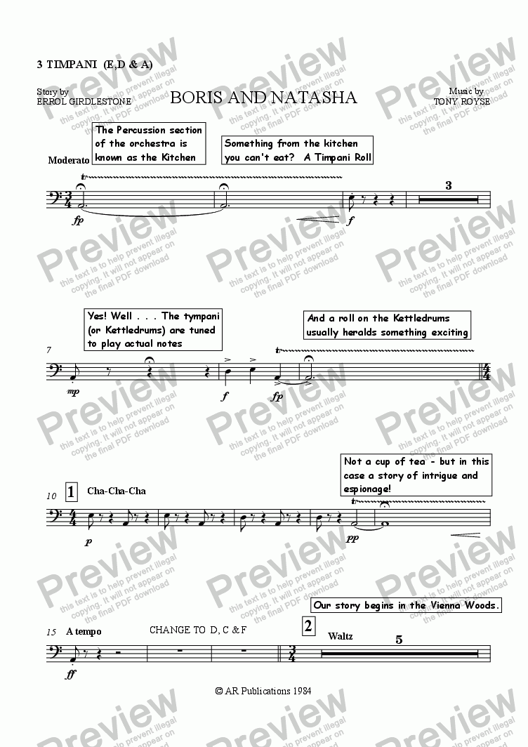 page one of the Timps. part from Boris and Natasha (Instruments Of The Orchestra)