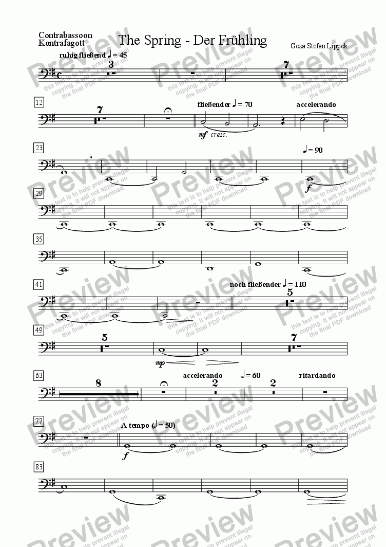 page one of the Contrabassoon part from Der Fruehling - The Spring