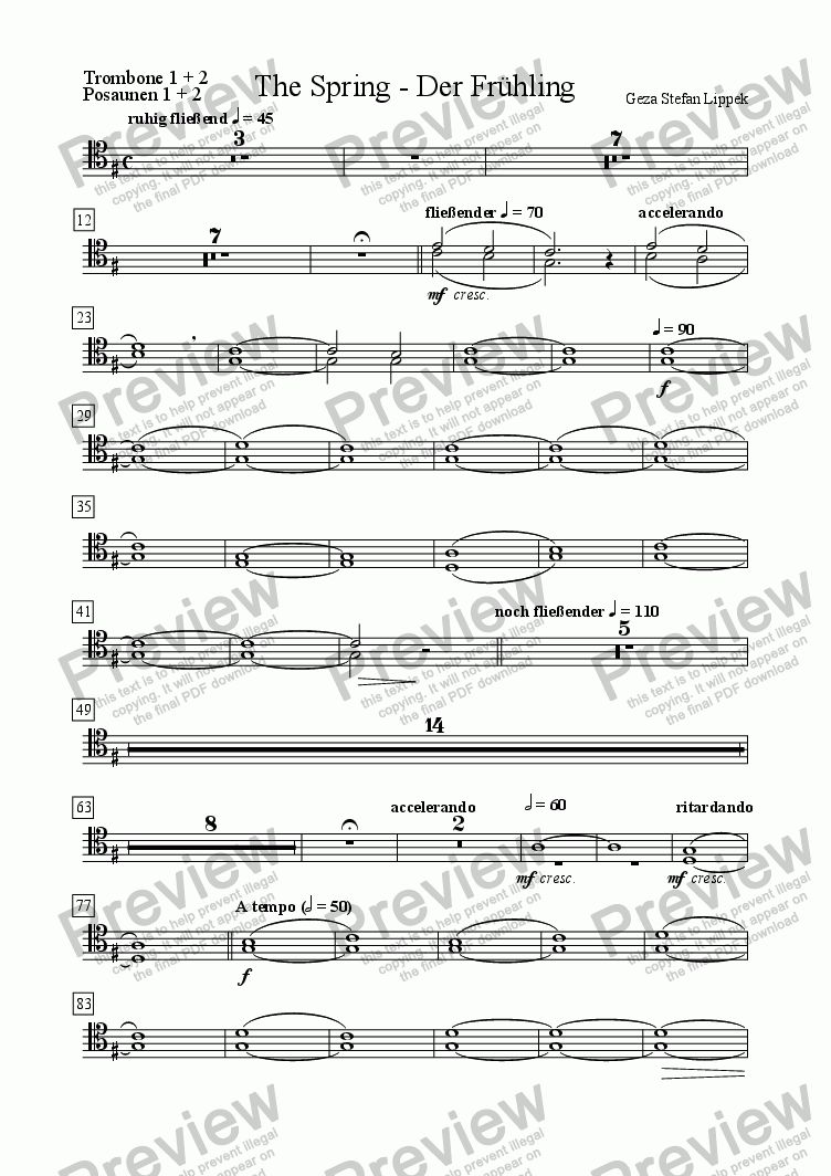 page one of the Trombone 1 + 2 part from Der Fruehling - The Spring