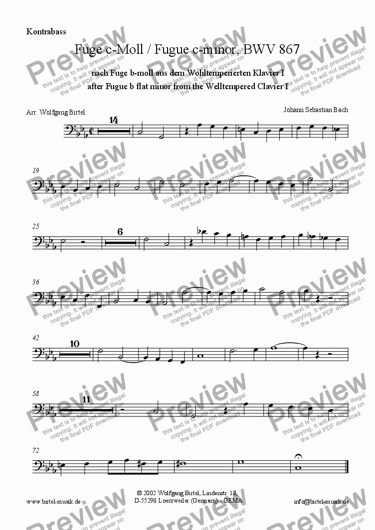 page one of the Double Bass part from Fugue c-minor (b flat minor)  after  Welltempered Clavier I (Fuge c-Moll / b-moll nach Wt Kl) (For Strings)