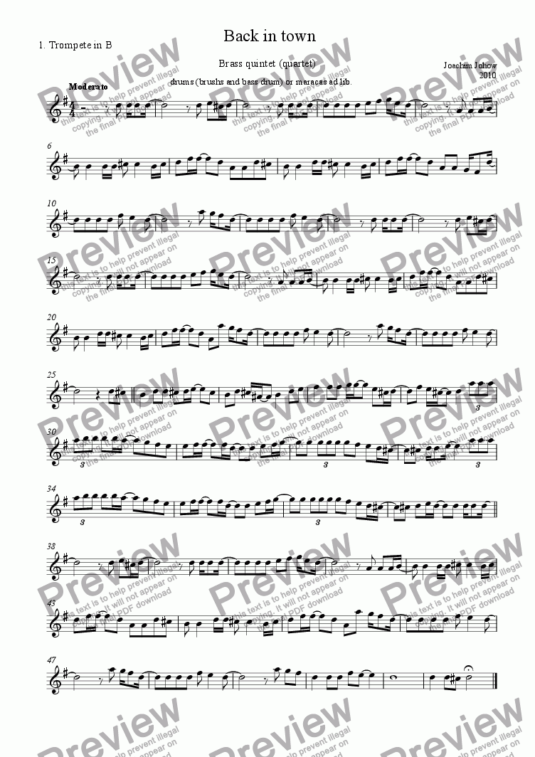 page one of the 1. Trp part from Brass quintet (Back in town)