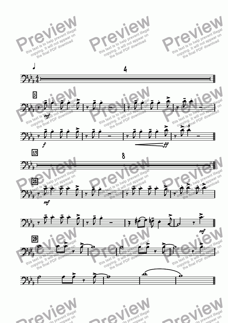 page one of the Trombone 2 part from Night at Horatio's, A