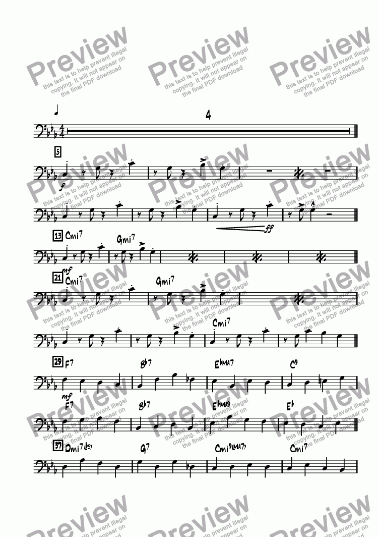 page one of the Bass part from Night at Horatio's, A
