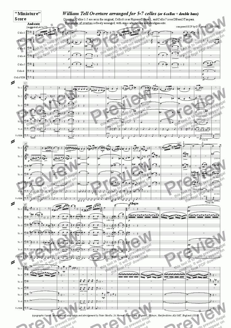 page one of the MiniatureScore(4pages) part from William Tell Overture (all four episodes) for 7celli, or for 6+DbleBass