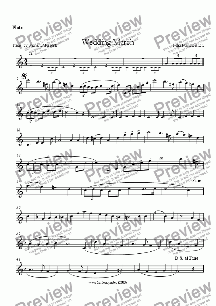 page one of the Flute part from Mendelsshon - Wedding March