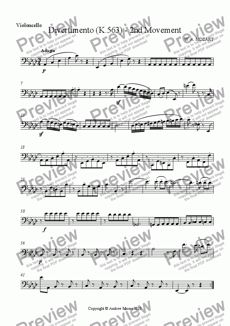 page one of the Cello part from Divertimento for String Trio K.563 - 2nd Movement  - Adagio