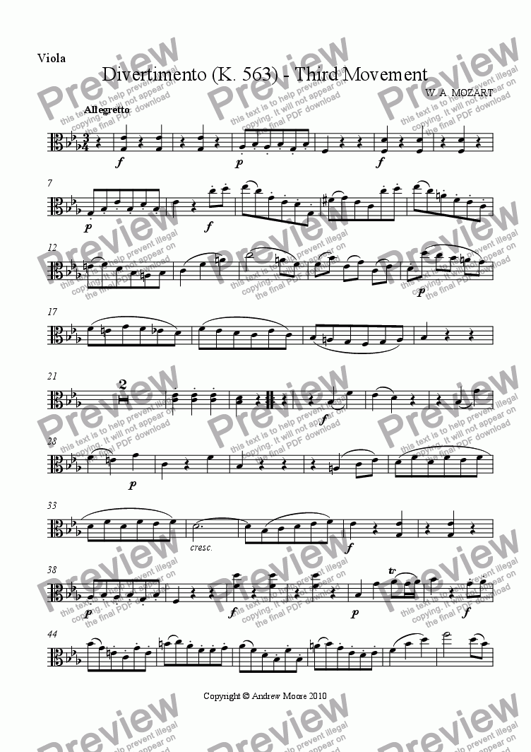 page one of the Viola part from Divertimento for String Trio K.563 - 3rd Movement - Minuet & Trio