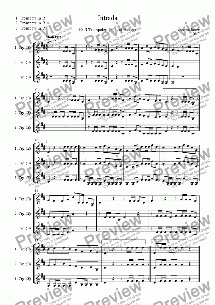 page one of the Trp tutti part from Intrada 01 ( 3 Trp ,Timp)