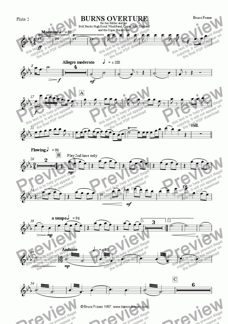 page one of the Flute 2 part from BURNS OVERTURE
